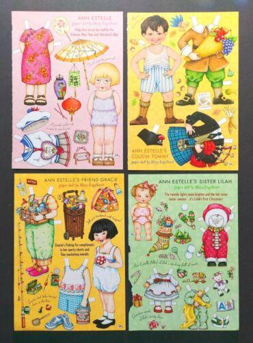 Mary Engelbreit Mag. Paper Dolls Ann Estelle, Gracie, Tommy, Lilah 4 pgs 2002-3