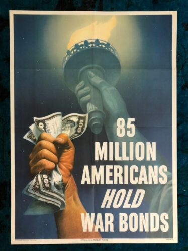 WWII WW2 Original War Poster Buy War Bonds Statue of Liberty NY NYC Home Front