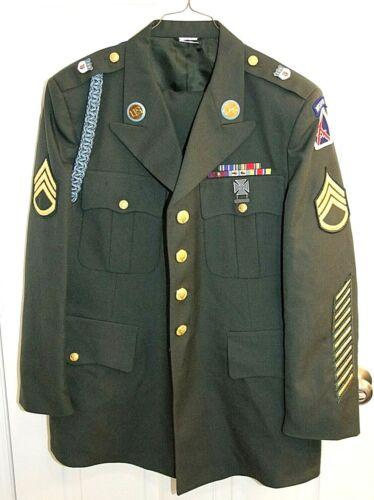 U.S. Army Green DRESS UNIFORM Jacket Coat 44S &Trouser Pants 40S w/Insignia/Pins
