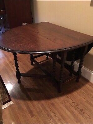 Antique English Oak Barley Twist Gate Leg Drop Leaf Oval Table ()