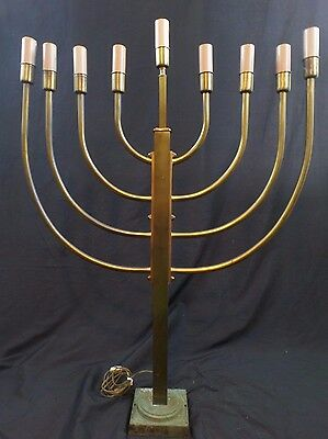 "Brass Electric Vintage Hanukkah Menorah, 9 Arm, Large 37.5"" x 29"""