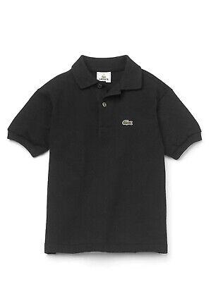*NWT Lacoste Kids Toddler Boys Black Classic Cotton Short Sleeve Polo Shirt Sz 4