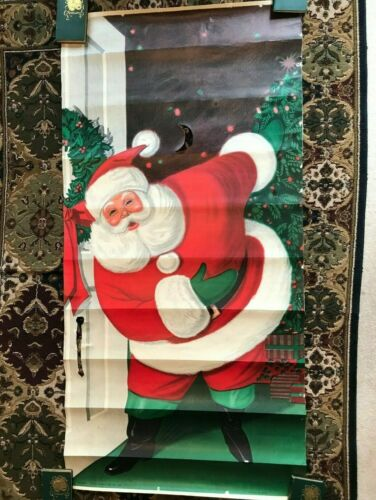 Vintage 1962 Sears Roebuck Santa Claus Poster Christmas Door Store Decoration 6