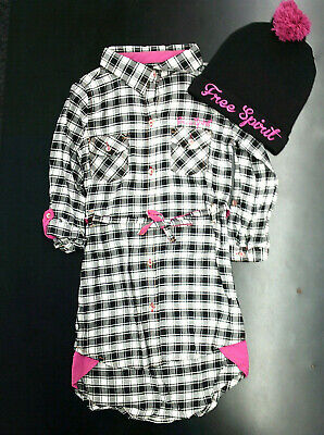 Black And White Girl Dresses (Girls Limited Too Black & White Checked Dress W/T Cap $45 Sizes 4 -)