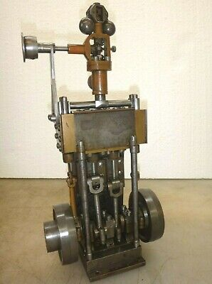 Vertical 2 Cylinder Steam Engine Model Old Neat And Rare Twin Cylinder Motor