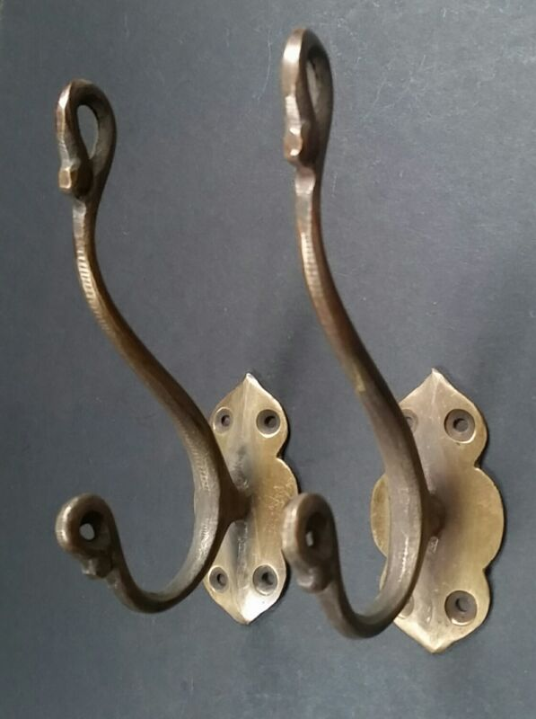 "2 Lg Solid Brass Vintage Antique Style Ornate Double Coat Hat Hooks 5-1/2"" #C11"
