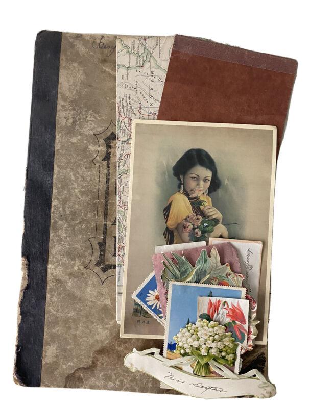 Antique day ledger ephemera paper MAPS journal art - JUNK JOURNAL art collage