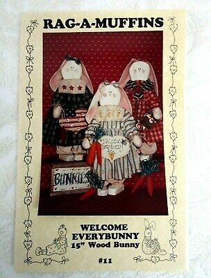 Rag A Muffins Welcome Everybunny Craft Pattern Wood Fabric country decor Easter