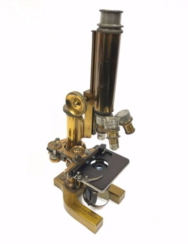 Antique Bausch & Lomb Microscope Solid Brass 3 Objectives SN 31576