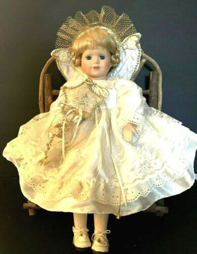 UNMARKED ANGEL PORCELAIN DOLL, BLONDE HAIR & BLUE EYES, WITH TWIG BENCH