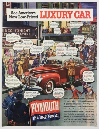 1940 Advertising Plymouth Luxury Car New 1941 Comic Style Automobile Print Ad