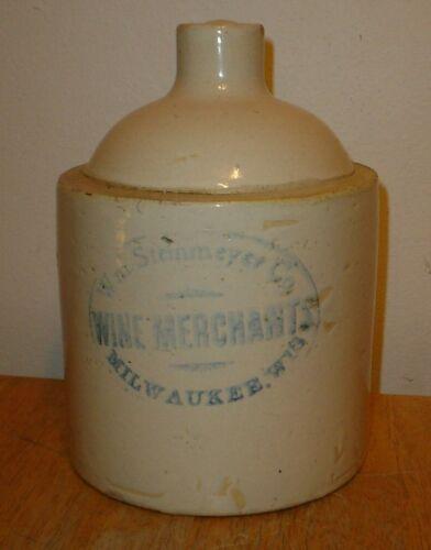 Antique Wm Steinmeyer Co Wine Merchants Advertising Stoneware Jug Milwaukee, Wis