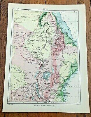 circa 1880s colour map of the nile !  ( adam & charles black )