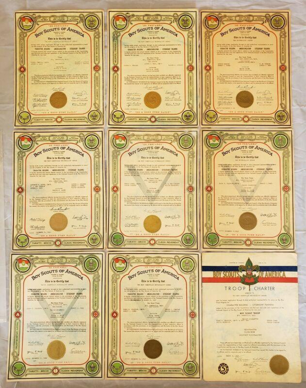 Lot of 9 Boy Scouts BSA Troop Charters Somerville MA 1939-1947