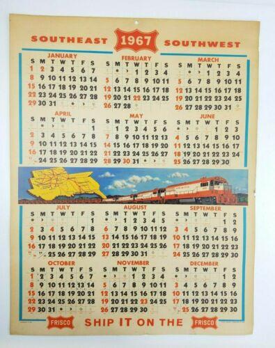 Vintage 1967 Frisco Railroad Railway Calendar