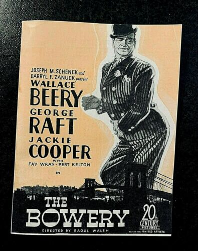 THE BOWERY 1933 MOVIE HERALD - WALLACE BEERY, GEORGE RAFT, JACKIE COOPER