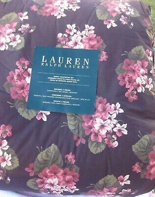 RALPH LAUREN FLORAL BOTANICAL GARDEN VIOLET  QUEEN COMFORTER  3 PC SET  VINTAGE Garden Queen Comforter