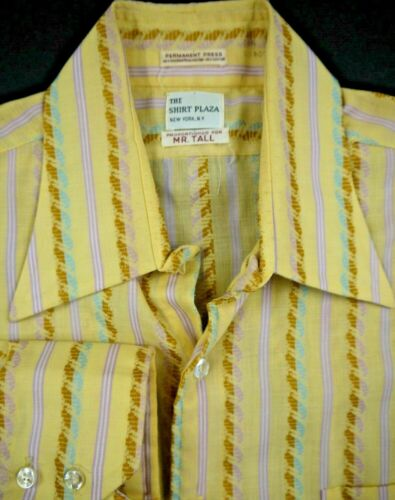 VINTAGE THE SHIRT PLAZA NEW YORK NY MOD BUTTON FRONT WESTERN WEAR 16 1/2 TALL