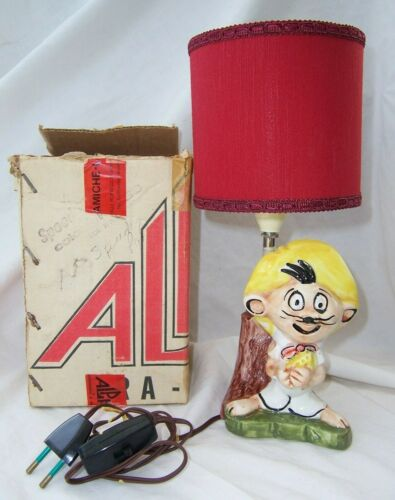 Vintage 1975 Warner Bros ceramic SPEEDY GONZALES Lamp + Shade & Box ALPA Italy