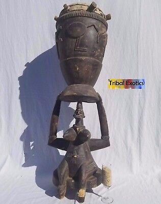 PREMIUM tribal fine African Art - Senufo Drum Figure Sculpture Statue Mask