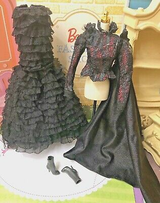 Barbie Wicked Elphaba Witch Doll Black Lace Top / Cape & Black Ruffle Long Skirt