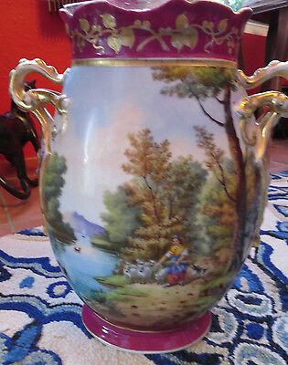Antique Old Paris Hand Painted Porcelain Figural Scenic  Vase 14 1/2''