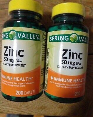 Spring Valley Zinc 50 mg 200 Caplets Immunity Health 2 Bottles Expiration: 04/22