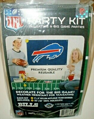- NEW BUFFALO BILLS NFL PARTY TAILGATE Kit Applique Banner Vinyl Table Cloth.