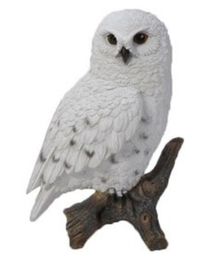 SNOWY OWL ON STUMP SMALL - Realistic Life Like Figurine Statue Home / Garden new