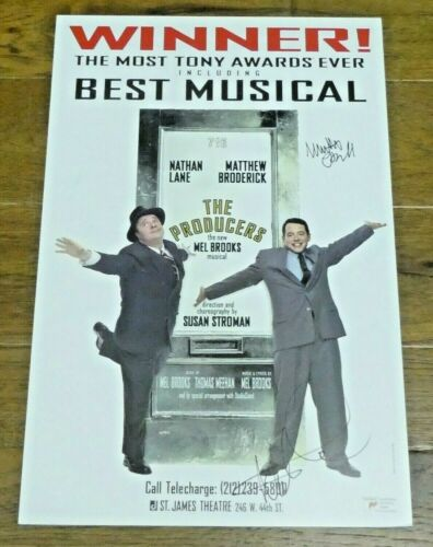 The Producers Signed by Matthew Broderick Nathan Lane Broadway Window Card 14x22
