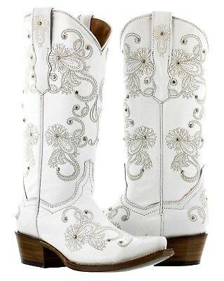 Womens White Wedding Western Cowgirl Boots I Do Embroidered Rhinestone Snip Toe