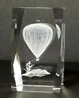 3D HOT AIR BALLOON 3 Inch GLASS PAPERWEIGHT Laser Etched Crystal Cube