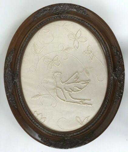 Vintage Wood Framed Candlewick Embroidery Picture Finished Bird Vine Flowers