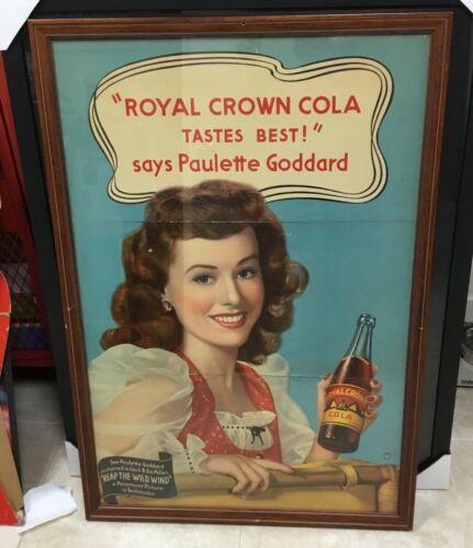 ORIGINAL VTG 1942 ROYAL CROWN COLA ADVERTISING POSTER PAULETTE GODDARD Store
