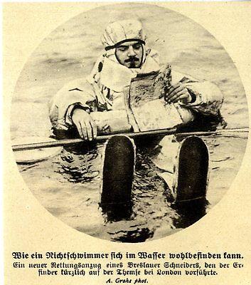 Breslauer Schneider erfindet einen neuen Rettungsanzug von 1913