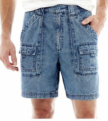 St. Johns Bay Hiking Shorts sz 30 32 34 36 38 40 42 44 Light Indigo Cotton Denim Cotton Jean Shorts