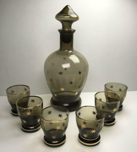 Vtg Cristalgal Smokey Gold Stars Atomic Style Decantor W/ Six Glasses Italy READ