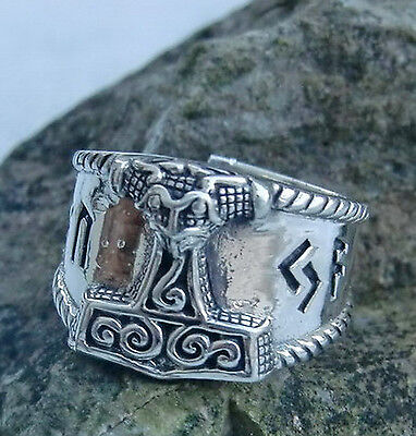 massiv Schonenhammer Ring 925 Silber 52-59 verstellbar Runenring Wikingerring