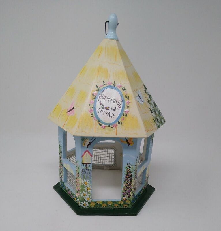 Butterfly Gazebo Cottage Hand Painted Birdhouse (1849)