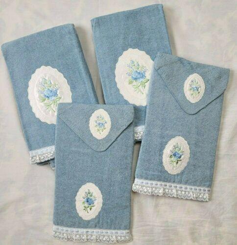 Vintage NOS Cannon Lenox Blue Floral Lace Towels Set 6 Pc Embroidered Cottage