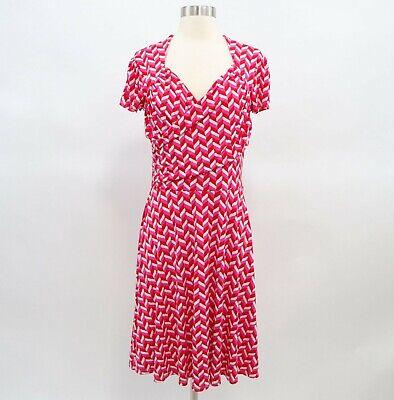Leota Faux Wrap Dress Womens M Red Pink White Jersey Stretch Short Sleeve Sleeve Faux Wrap Dress