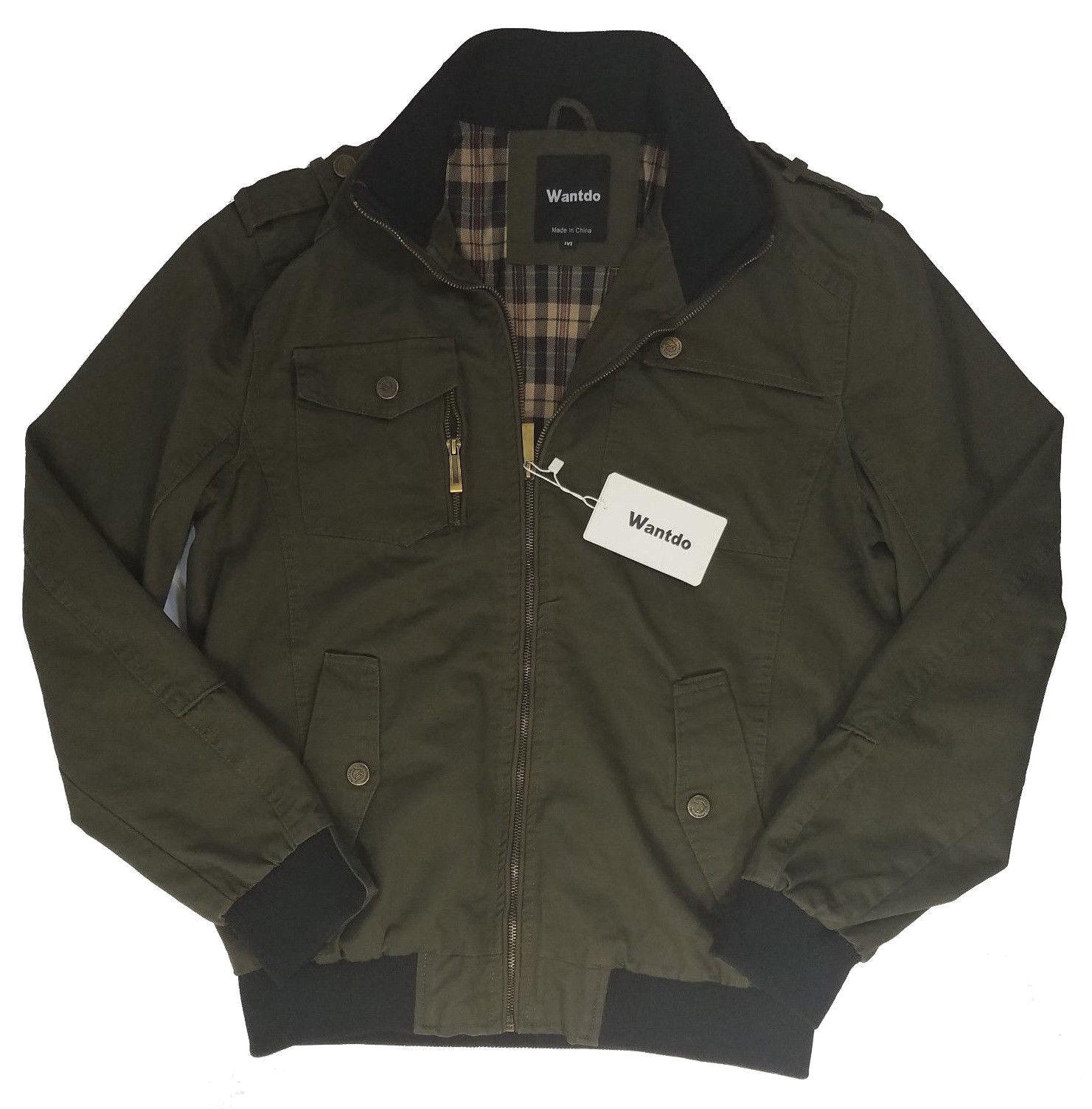 Wantdo Origanal Brand Jacket Mens Green  Zipper Standup coll