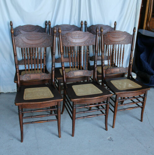 Antique Set of Six Oak Pressed back Chairs – in original finish Cane Seats