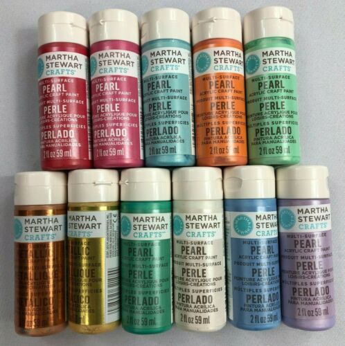 Martha Stewart Crafts Multi-Surface Paint Set 11 Count Metallic and Pearl NEW BJ