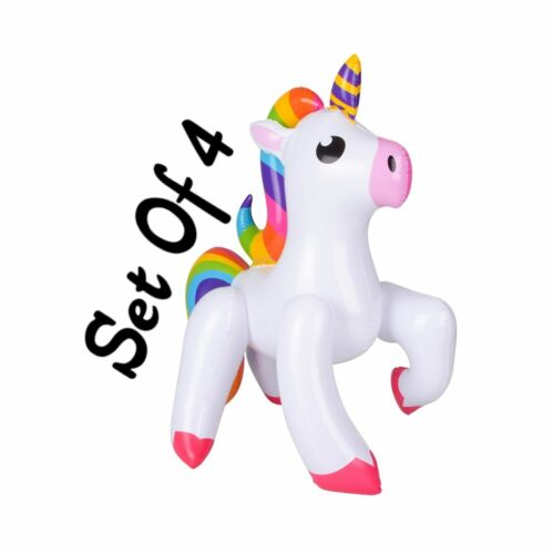 """(Set Of 4) 24"""" Emoticon Unicorn Inflatable - Blow Up Toy Party Decoration"""