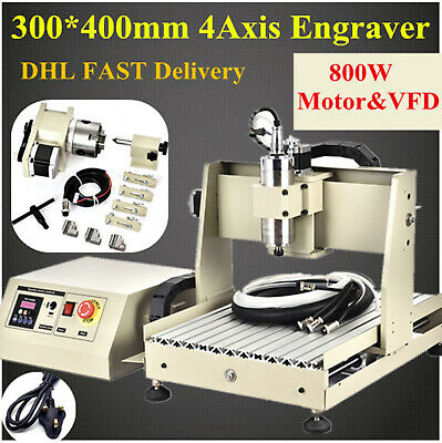 800w 4 Axis Cnc 3040 Router Engraver Ball Screw Metal Milling Drilling Machine