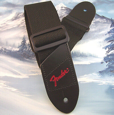 GUITAR STRAP ~ GENUINE FENDER ~ BLACK w/ RED LOGO