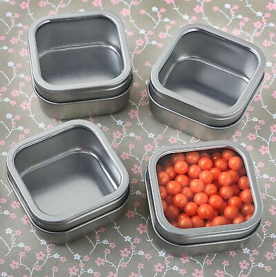 6 Silver Square Candy Tins Boxes Wedding Bridal Shower Party Favors MW70022 - Favor Tins