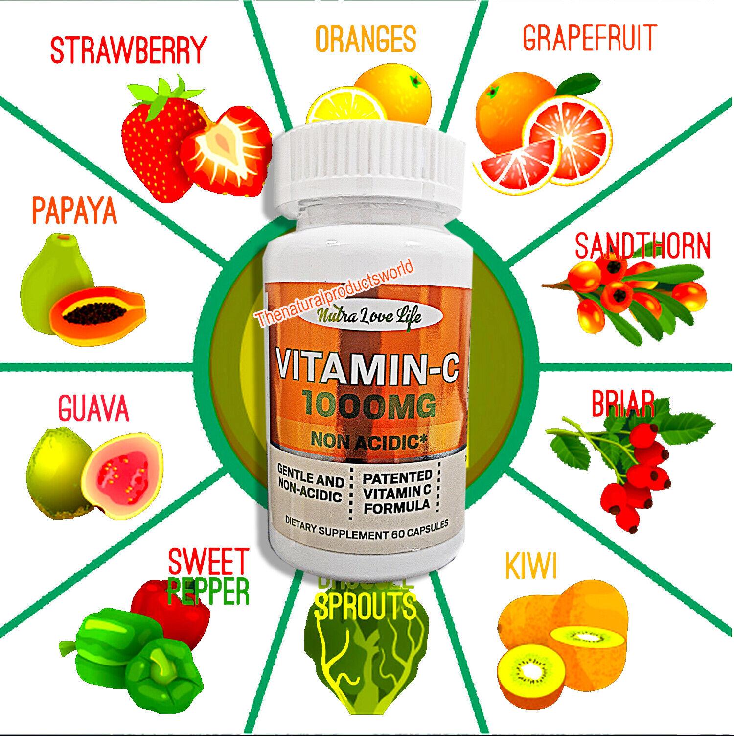 Vitamin C 1000mg 60 Capsules Immnue System Pharmaceutical Grade USA Inmune