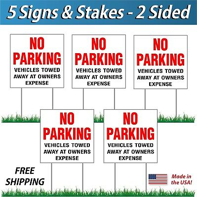 5x - No Parking Tow Away Signs Corrugated Plastic Free Stakes 5 Pack Red